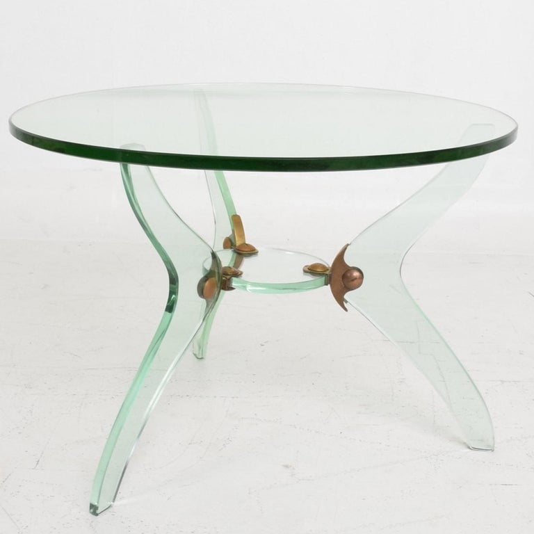 Glass and Bronze Coffee Table Attributed Fontana Arte Italian Mid-Century Modern For Sale 5
