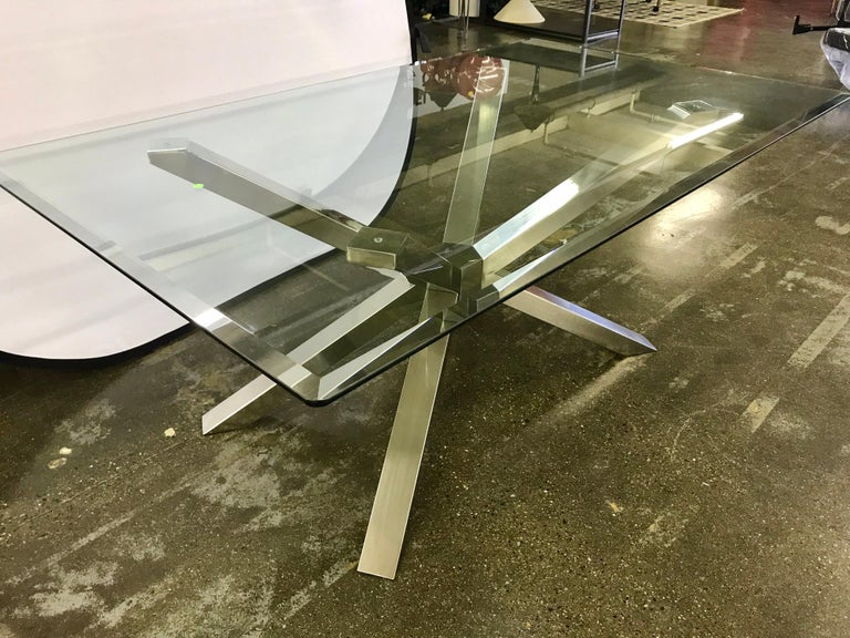 Mid-Century Modern Glass and Chrome Dining Table and 4 Calligaris Chairs For Sale