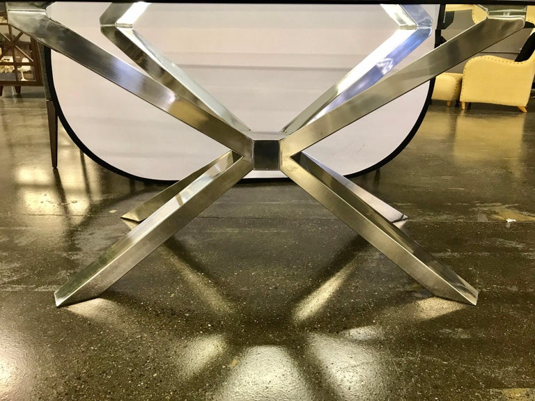 Italian Glass and Chrome Dining Table and 4 Calligaris Chairs For Sale
