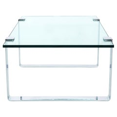 Glass and Chrome Side Table by Milo Baughman