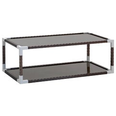 Glass and Leather Rectangular Coffee Table