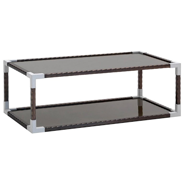 Glass and Leather Rectangular Coffee Table For Sale