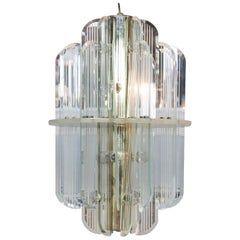 Glass and Lucite Chandelier, circa 1980s
