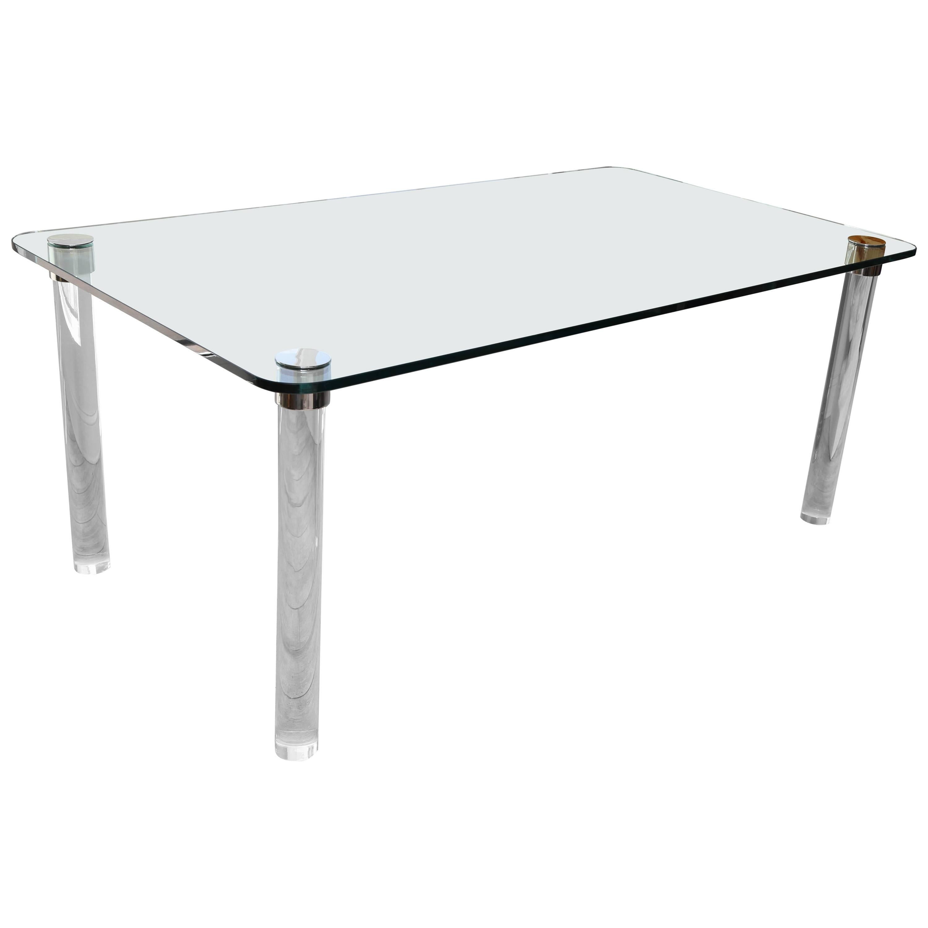 Glass and Lucite Dining Table by Pace