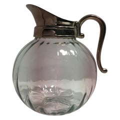 Glass and Metal Silver Plate Water Carafe