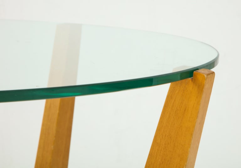 Glass and Oak Coffee Table For Sale 6