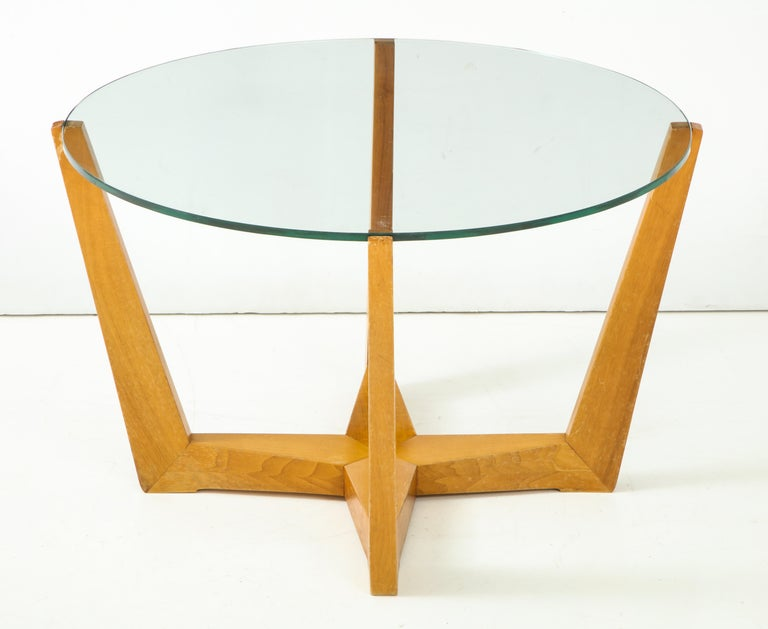 Glass and Oak Coffee Table For Sale 7