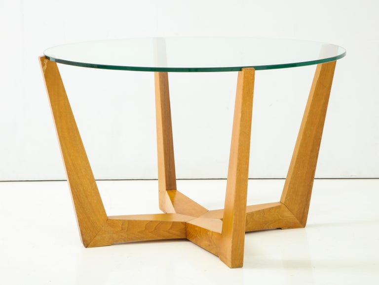Mid-20th Century Glass and Oak Coffee Table For Sale