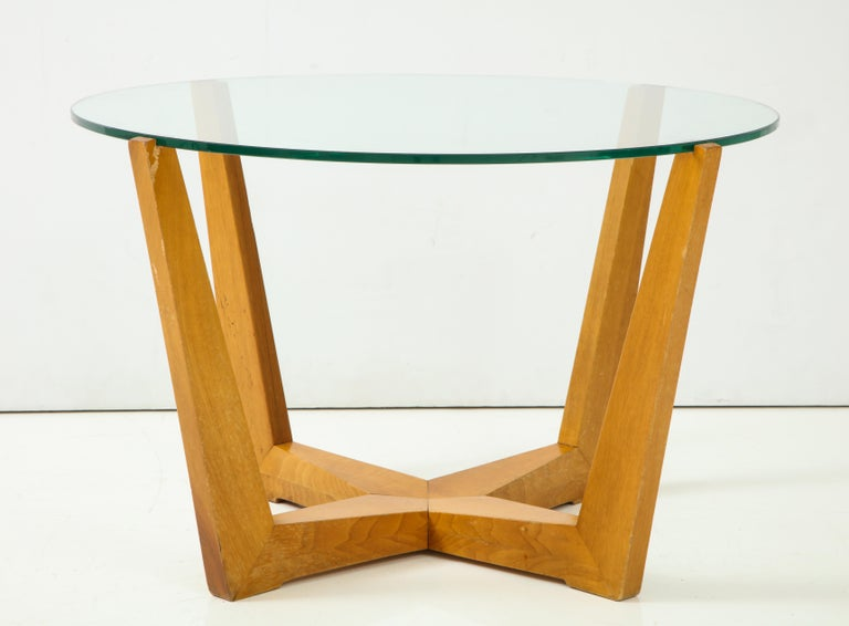 Glass and Oak Coffee Table For Sale 1