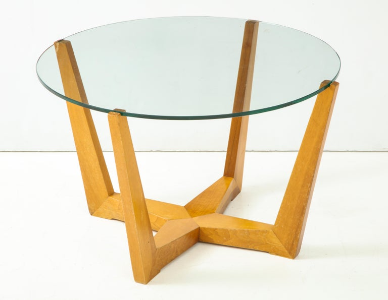 Glass and Oak Coffee Table For Sale 2