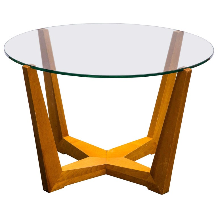 Glass and Oak Coffee Table For Sale