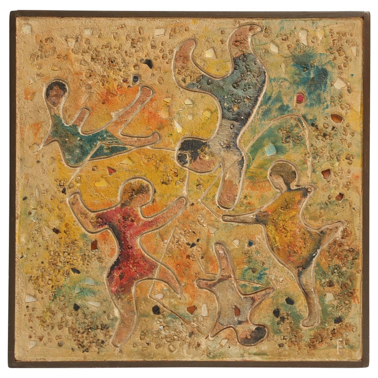 "Glass and Polychrome Sand Mosaic Sculpture ""Children at Play"" Signed EC For Sale"