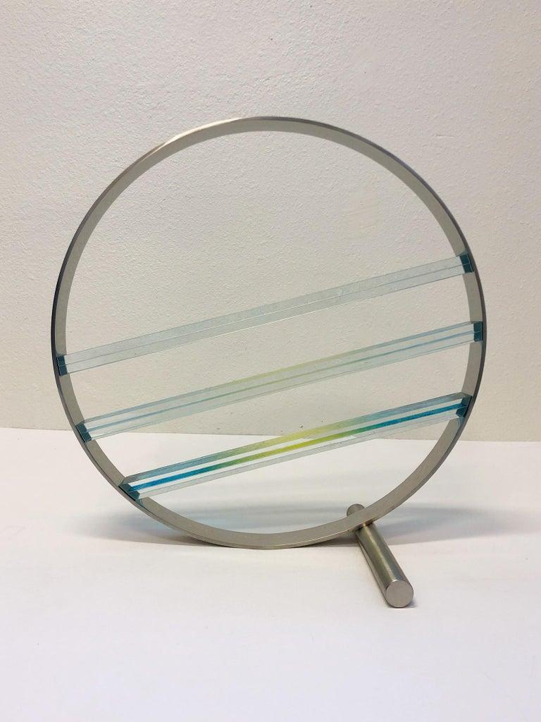 Modern Glass and Stainless Steel Sculpture by Runstadler Studios For Sale