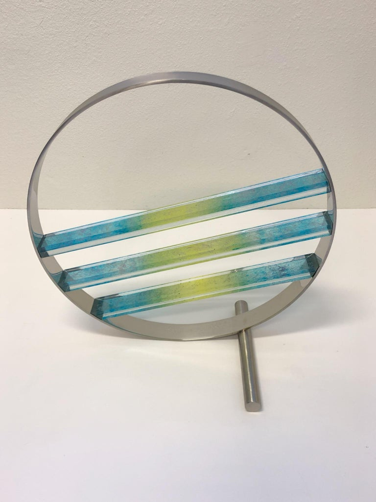 American Glass and Stainless Steel Sculpture by Runstadler Studios For Sale