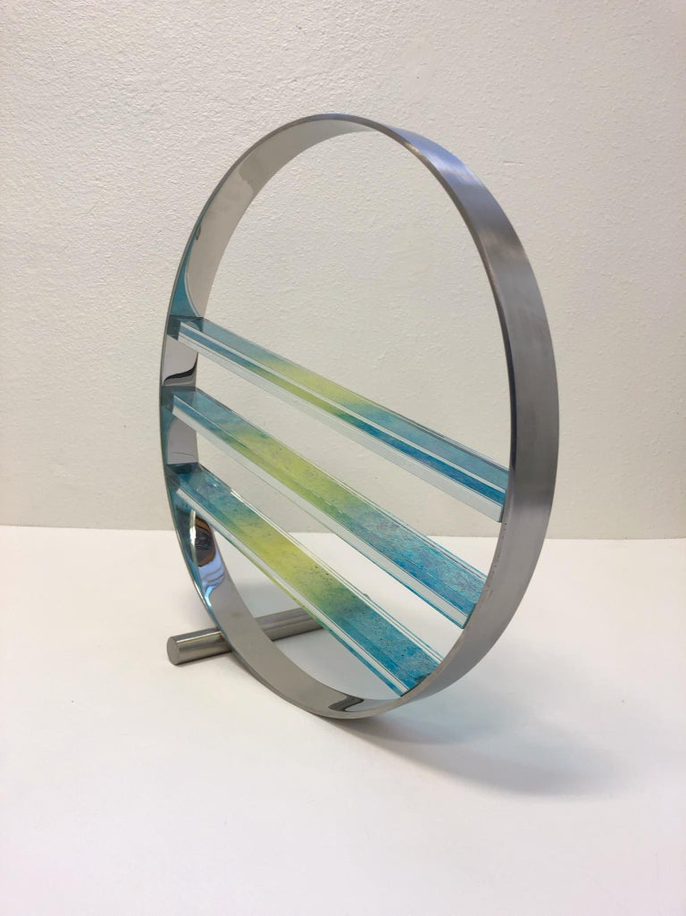 Glass and Stainless Steel Sculpture by Runstadler Studios In Excellent Condition For Sale In Palm Springs, CA