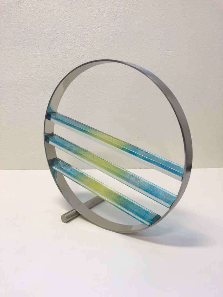 Late 20th Century Glass and Stainless Steel Sculpture by Runstadler Studios For Sale