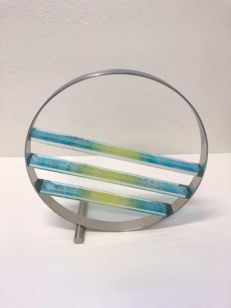 Glass and Stainless Steel Sculpture by Runstadler Studios For Sale 1
