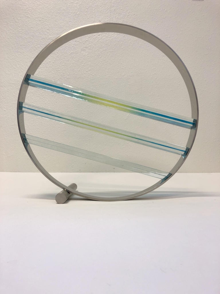 Glass and Stainless Steel Sculpture by Runstadler Studios For Sale 2