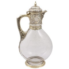 Glass and Sterling Silver Gilt Mounted Claret Jug, Antique Victorian '1890'
