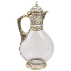 Glass and Sterling Silver Gilt Mounted Claret Jug, Antique Victorian, '1890'