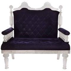 Glass and Velvet Sofa in the Manner of Osler