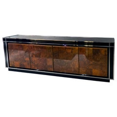 Glass and Walnut Sideboard, France, 1970s