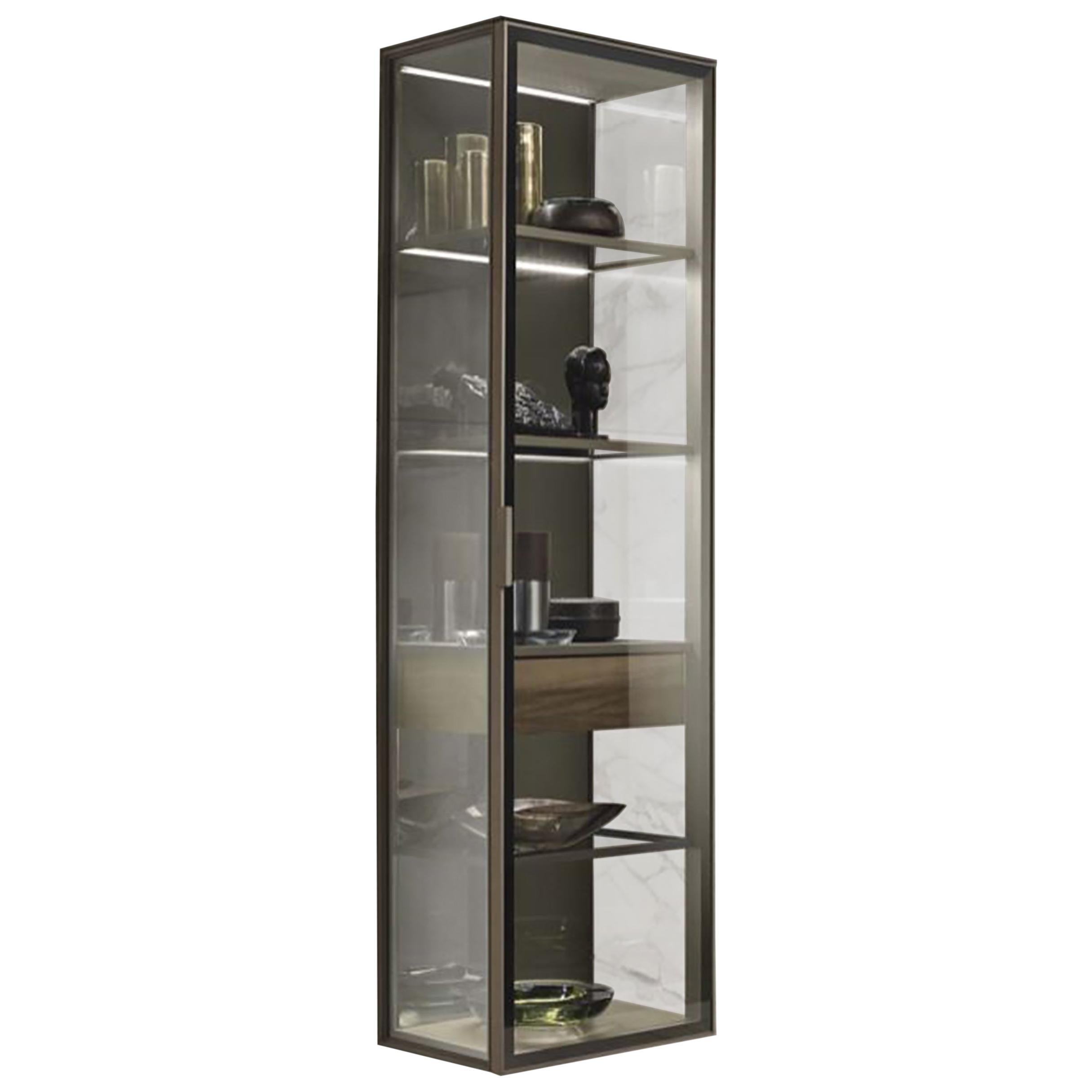 Glass and Walnut Wood Vertical Wall Cabinet
