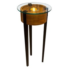 Lighted Glass Top Art Stand with Coco Bola and Walnut Base