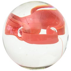 Glass Ball with Embedded Mixed-Media Desk Accessory
