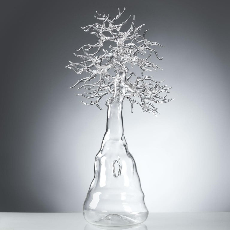 Hand-blown borosilicate glass in the lamp working technique to represent a unique bonsai tree. Signed and dated on the trunk.  Measures: Height 52cm, width 25cm, depth 27cm.