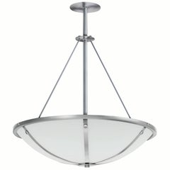 Glass Bowl Chandelier with Brushed Metal Bands