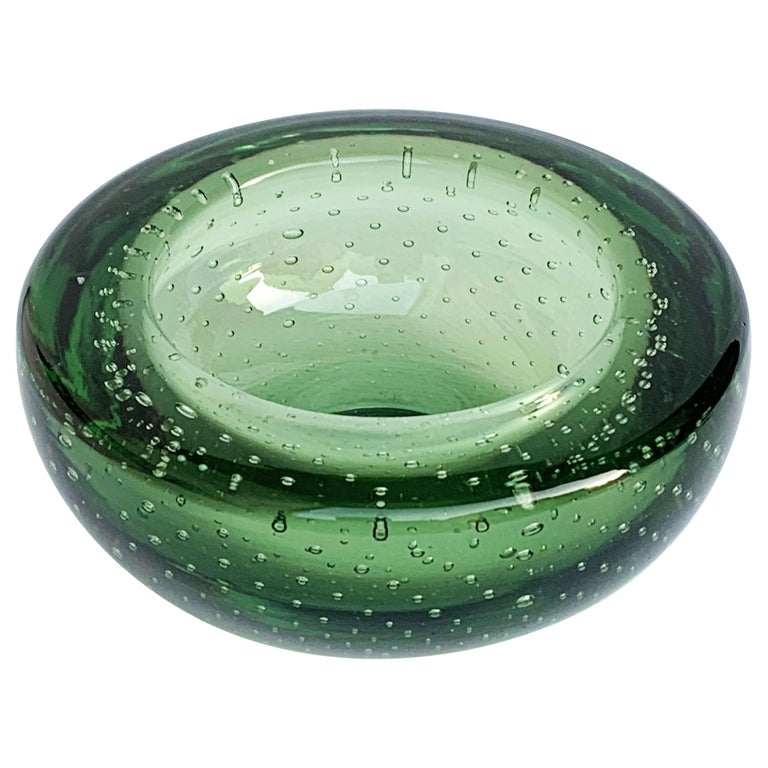 Glass Bowl or Ashtray, Glass Sommerso Bullicante, Air Bubbles Murano Italy, 1960 For Sale