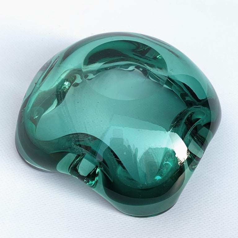 Glass Bowl or Ashtray Green Glass Sommerso Murano, Italy, 1960s In Good Condition For Sale In Roma, IT