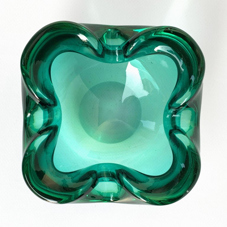 20th Century Glass Bowl or Ashtray Green Glass Sommerso Murano, Italy, 1960s For Sale
