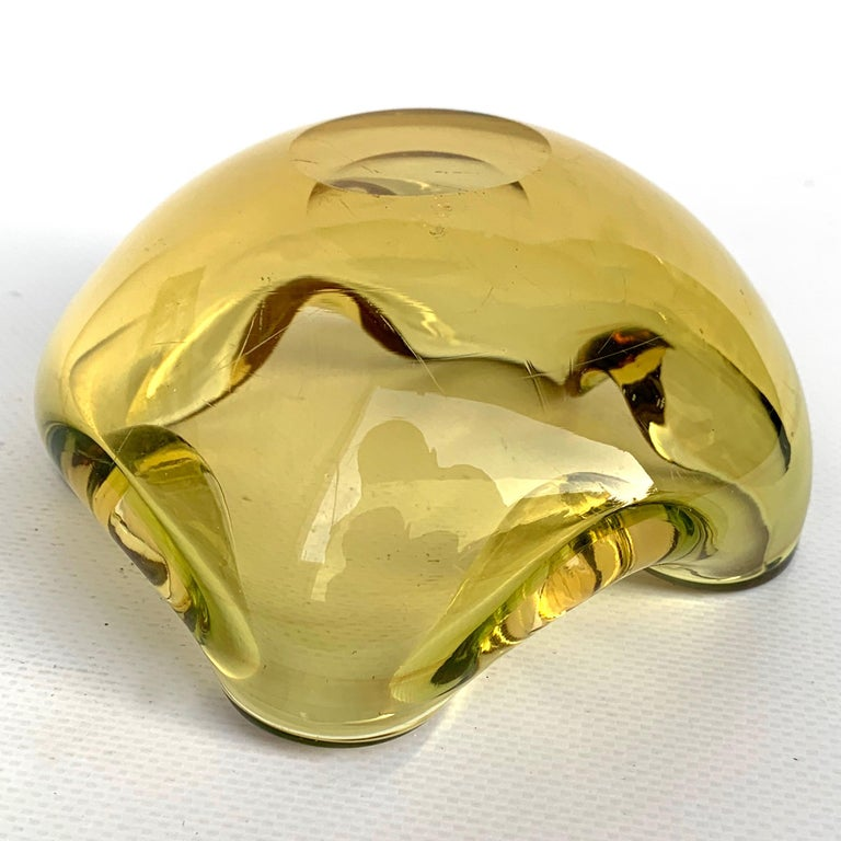 Glass Bowl or Ashtray, Murano, Color Amber, Italy, 1960s For Sale 1