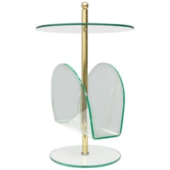 Glass, Brass and Lucite Magazine Rack Side Table, 1980s