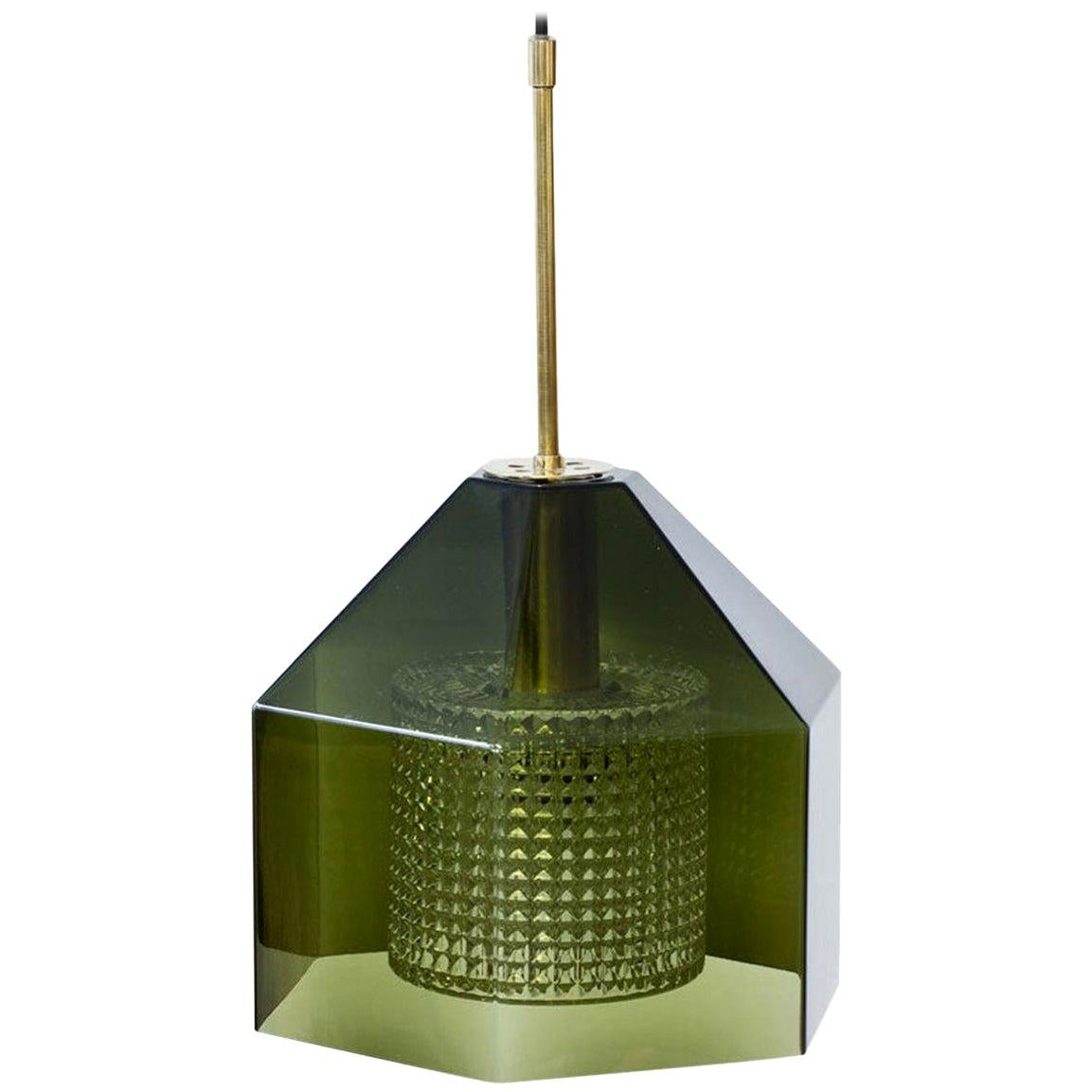 Glass & Brass Pendant Lamp by Carl Fagerlund for Orrefors, Sweden
