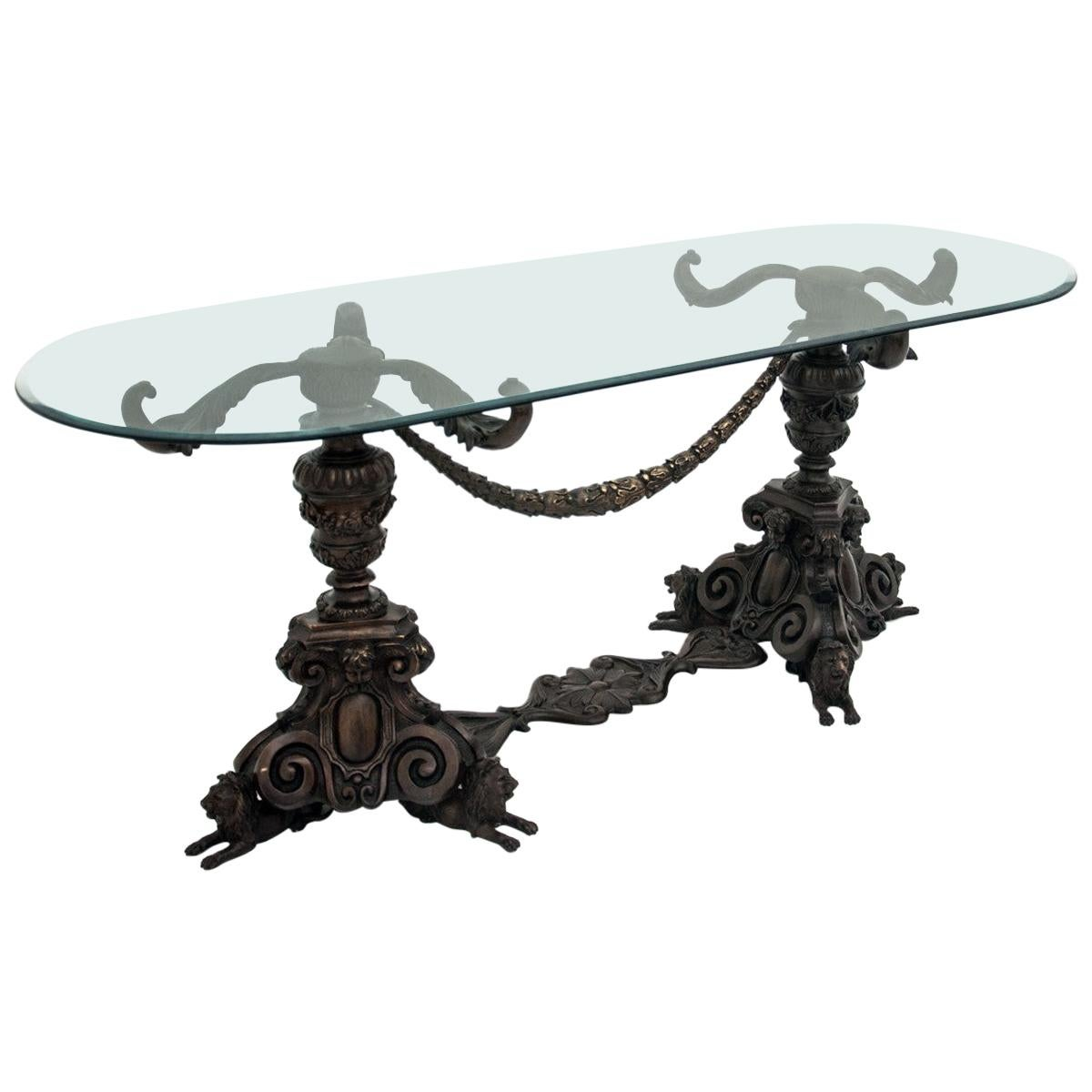 Glass Bronze Table, Mid-20th Century
