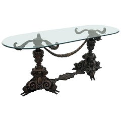 Glass Bronze Table, Mid-20th Century