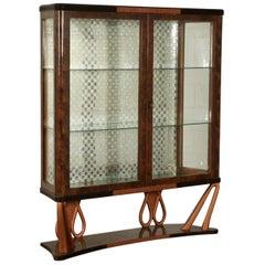 Glass Cabinet Burl Wood Veneer Vintage, Italy, 1940s