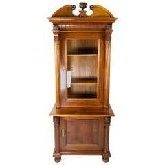 Glass Cabinet of Light Walnut, in Great Antique Condition from the 1880s