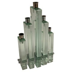 Glass Candle Holder Attributed to Fontana Arte
