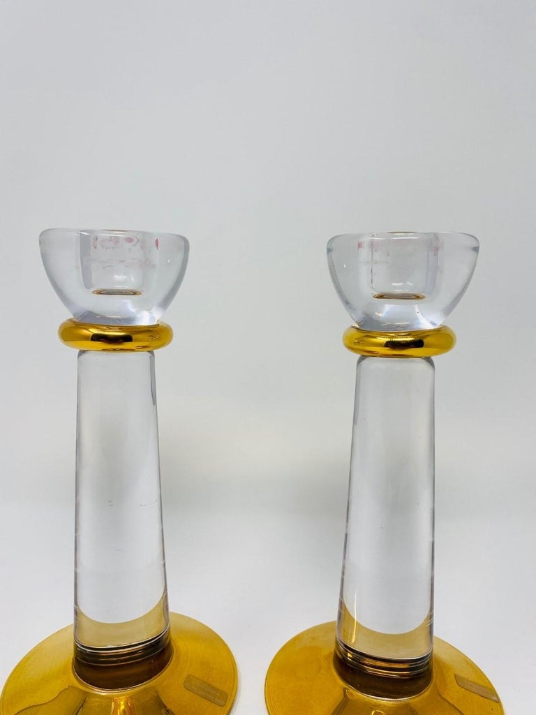 Swedish Glass Candle Holders by Kosta Boda Sweden For Sale