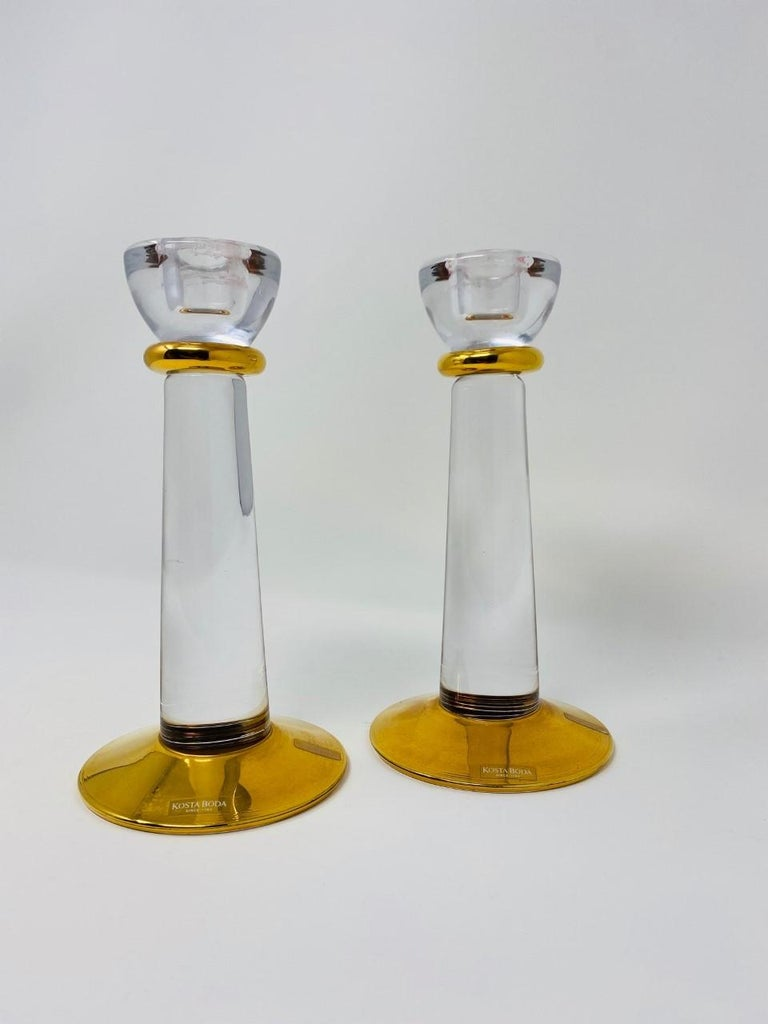 Hand-Crafted Glass Candle Holders by Kosta Boda Sweden For Sale