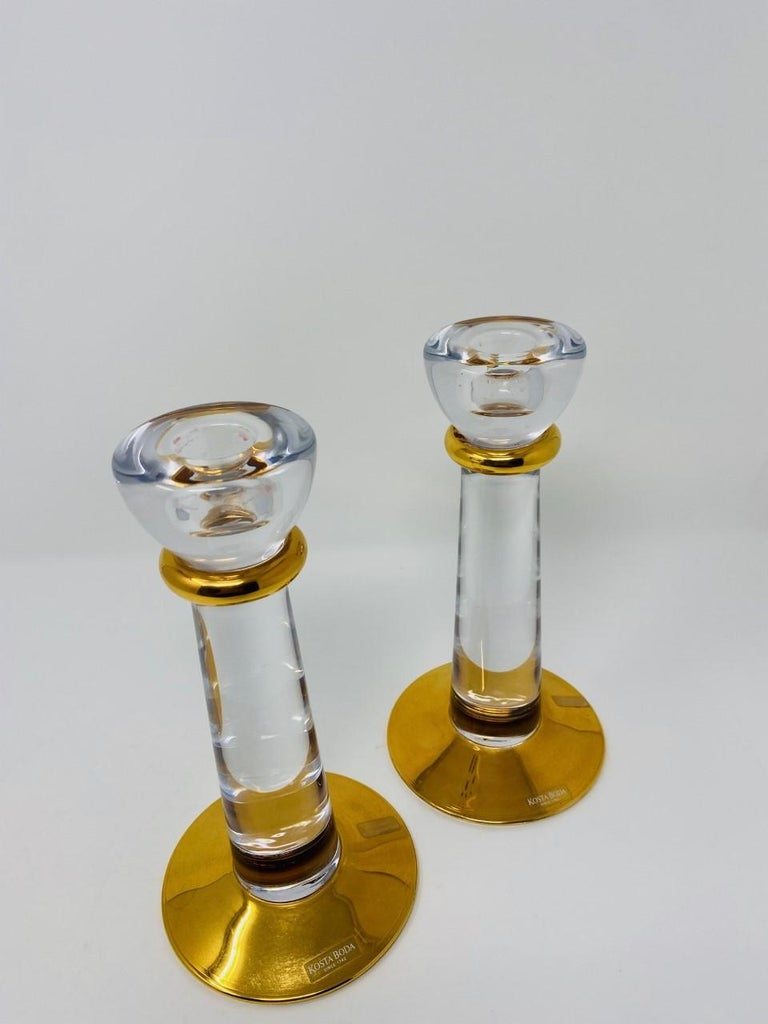 Glass Candle Holders by Kosta Boda Sweden In Good Condition For Sale In San Diego, CA