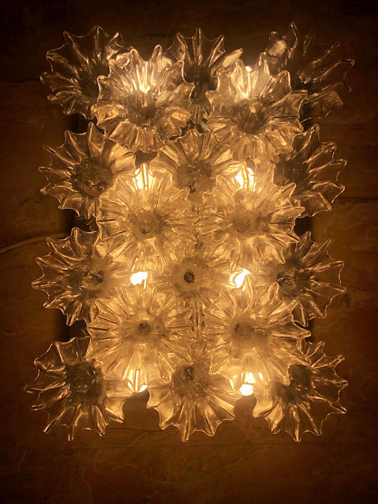 Italian Glass Ceiling Rare Murano Chandelier 8-Light with 18 Glasses Barovier & Toso For Sale