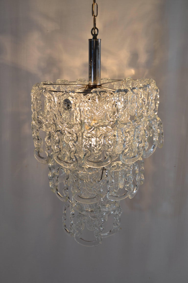 Glass Chain Chandelier by Angelo Mangiarotti for Vistosi, 1960 In Excellent Condition For Sale In Albano Laziale, Rome/Lazio