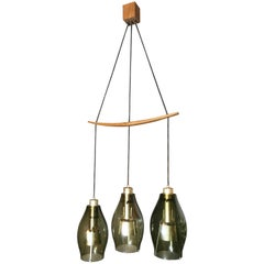 Chandelier Mid Century by Osvaldo Borsani Smoked Glass Wood, 1960