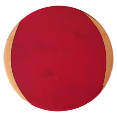 Glass Charger with Gold Rim Red