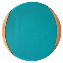 Glass Charger with Gold Rim Turquoise